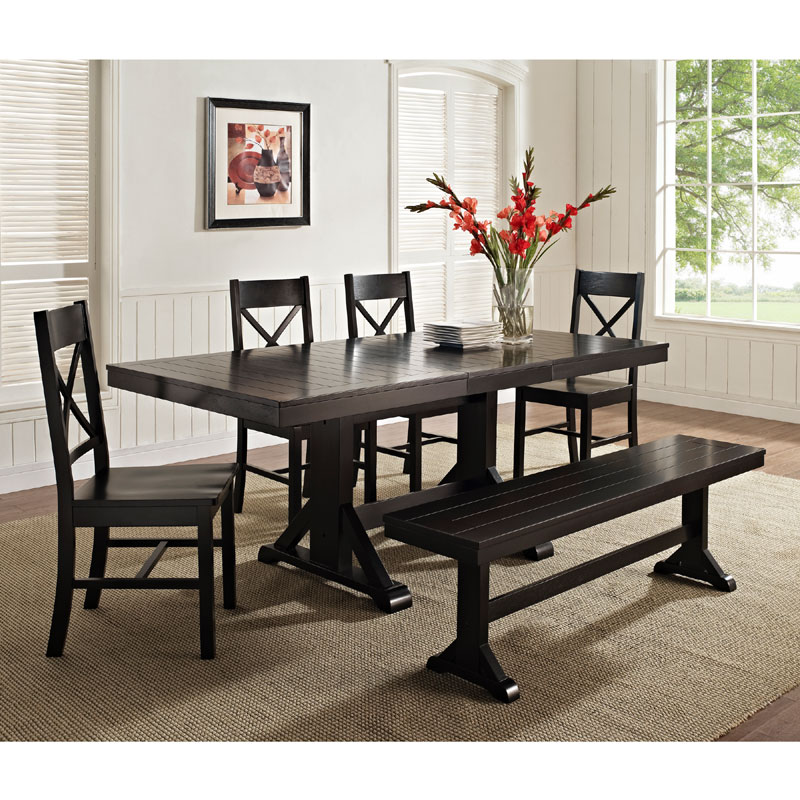 Kitchen Table And Chairs Amazon: Walker Edison Millwright 6 Piece Wood Dining Set Black C60W2BL