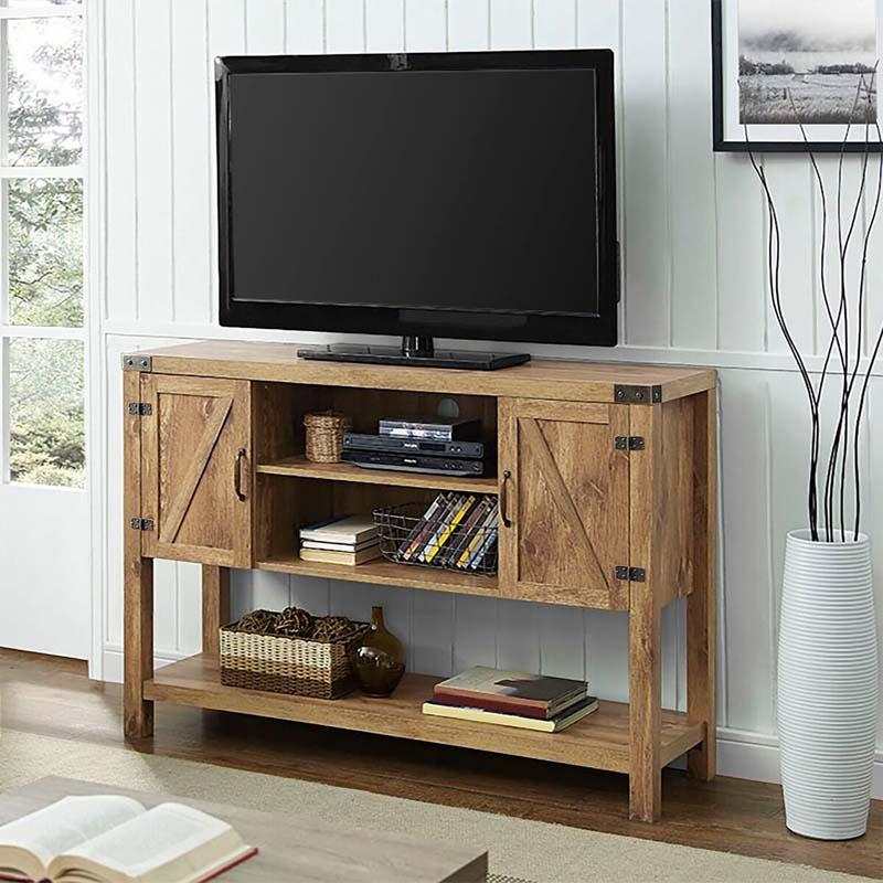 Cheap Hardwood Flooring Murphy Nc: Walker Edison Barn Door 55 Inch TV Cabinet (Barnwood