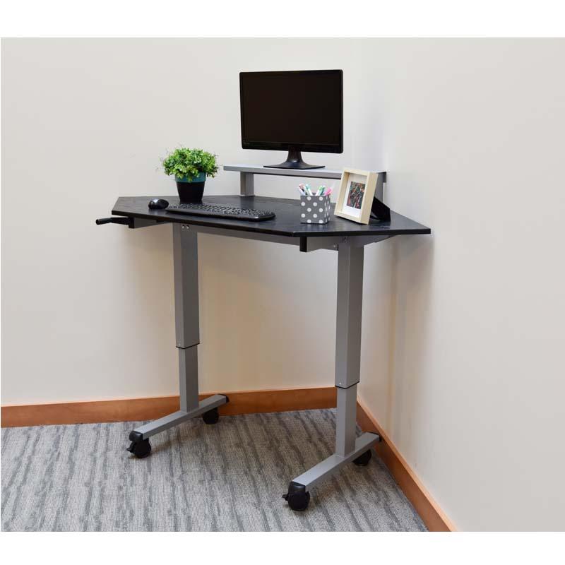 luxor adjustable height stand up corner desk silver and black standup ccf60 b. Black Bedroom Furniture Sets. Home Design Ideas