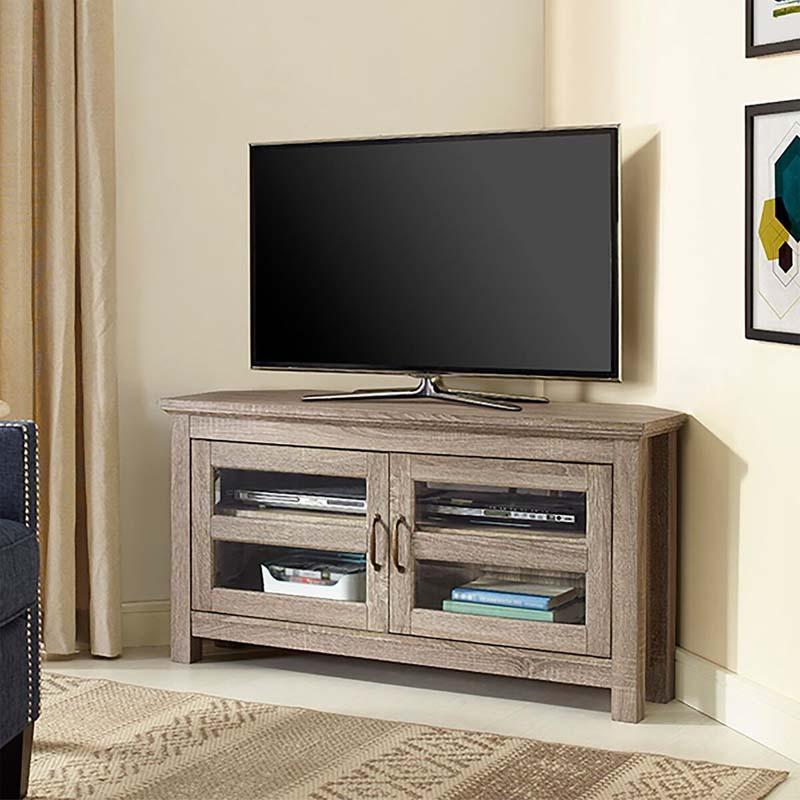 Walker Edison 48 Inch Corner TV Stand Driftwood W44CCRAG