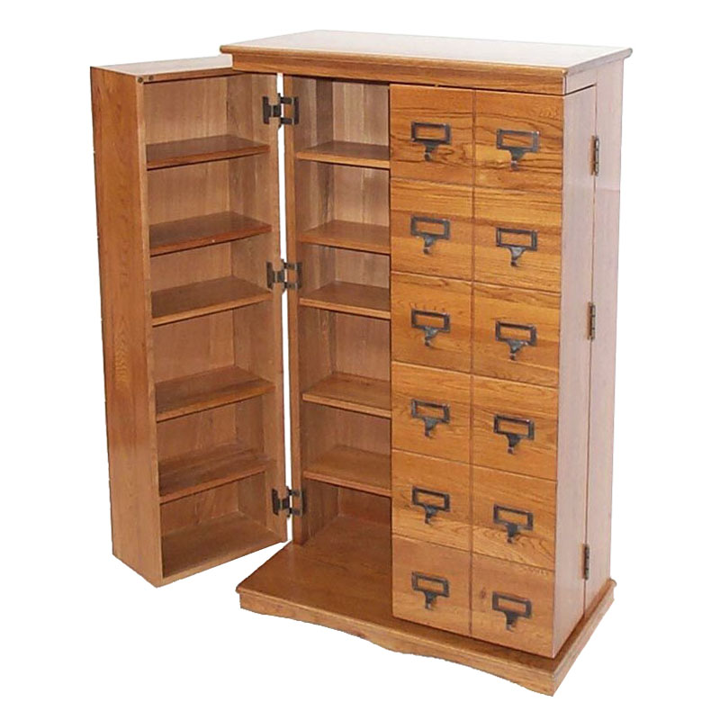 Leslie Dame Library Style Multimedia Storage Cabinet Dark