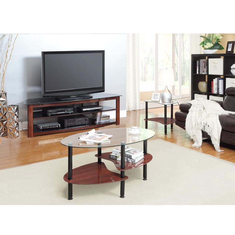 Innovex Crescent Series Coffee Table And 2 End Table Set Dark Espresso Ce003gde