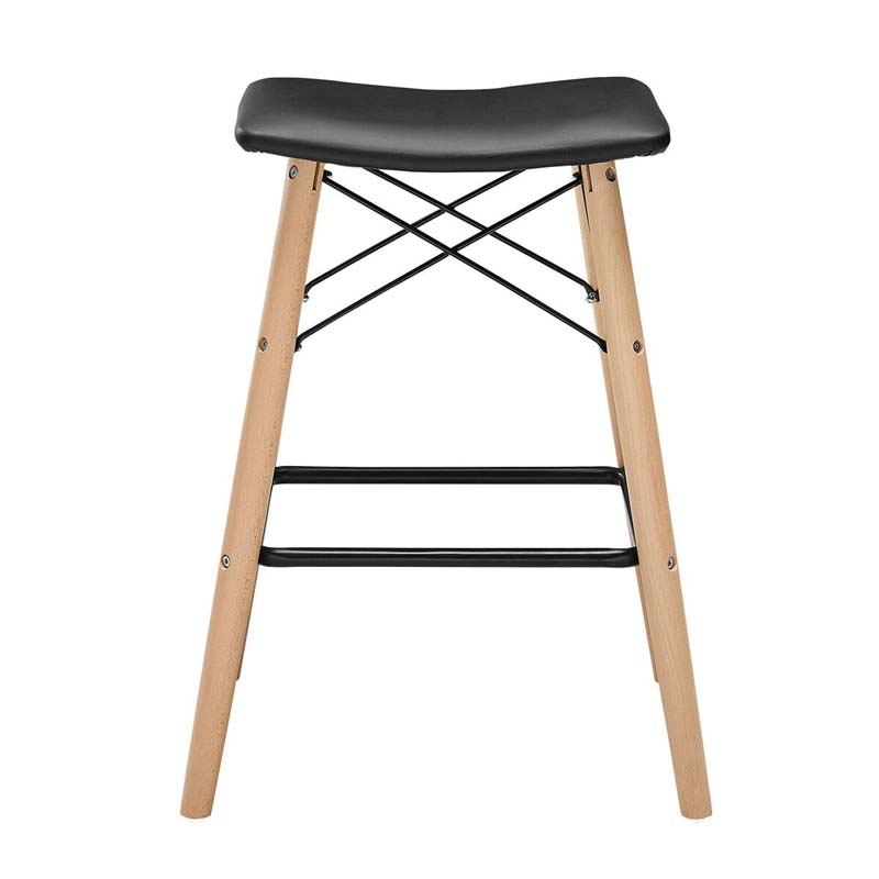 Cowhide Barstools Vintage Black White Hairhide Leather Bar: Walker Edison Retro Modern Faux Leather 26 Inch Counter
