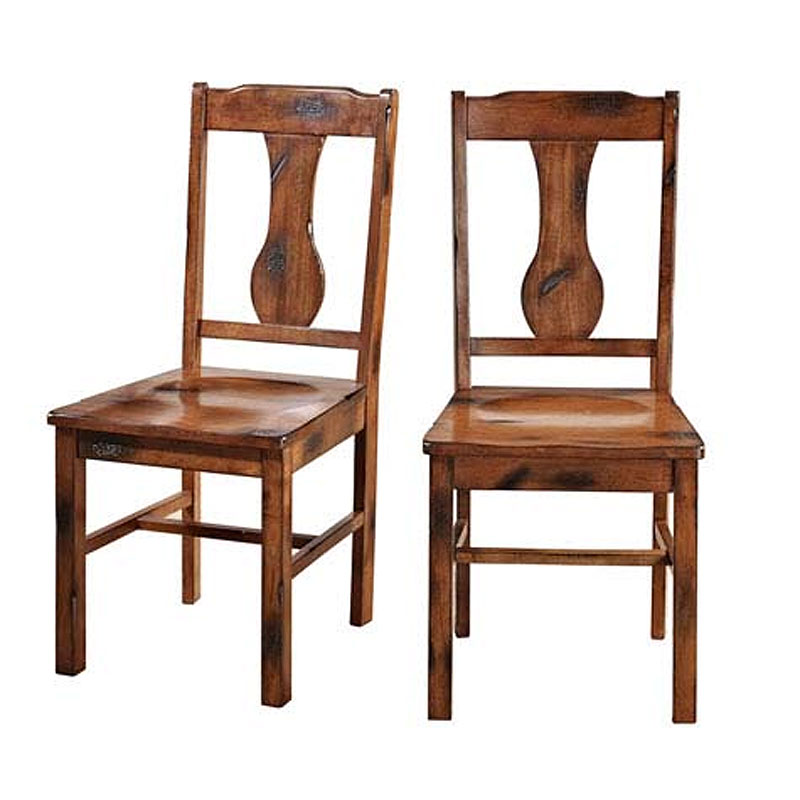 Dining Room Chairs Oak: Walker Edison Huntsman Set Of Two Solid Wood Dining Chairs
