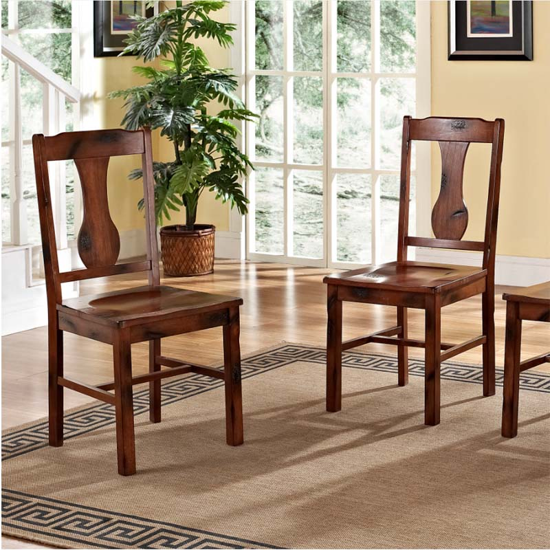 Walker Edison Set Of 4 Wood Dining Chairs Distressed Oak CHH4DO