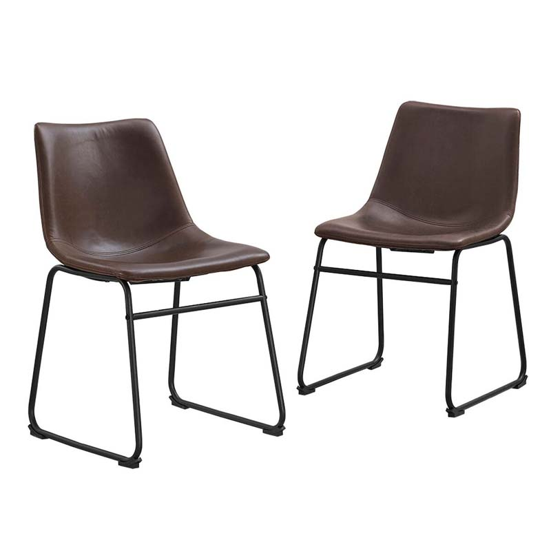 Walker edison faux leather dining chairs brown set of 2 for Faux leather dining chairs