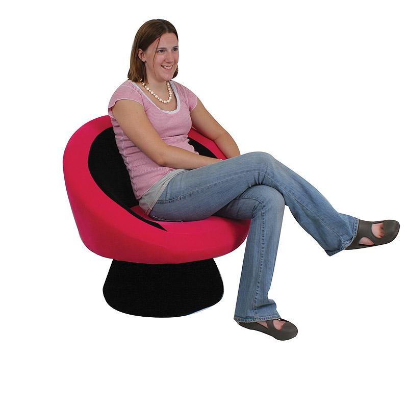 Lumisource saucer chair black hot pink chr sauce bk pk