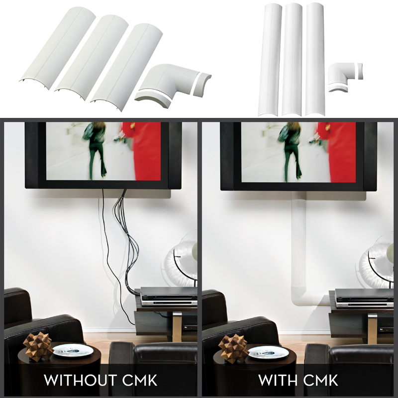 Cable Management System : Omnimount wall cable management system white cmk mini