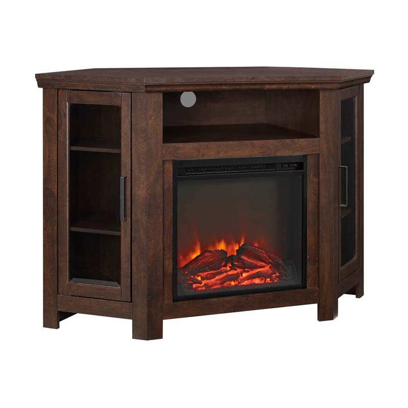 Walker edison corner fireplace tv stand traditional brown for Stand traditionnel