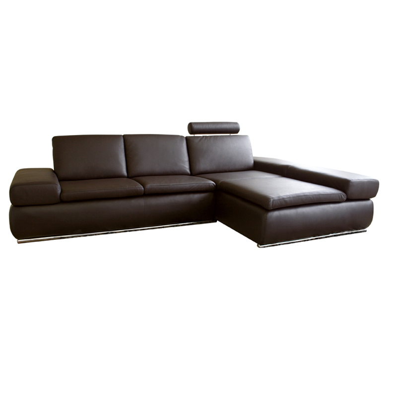 Wholesale interiors leather sofa sectional with chaise for Brown leather sofa with chaise lounge