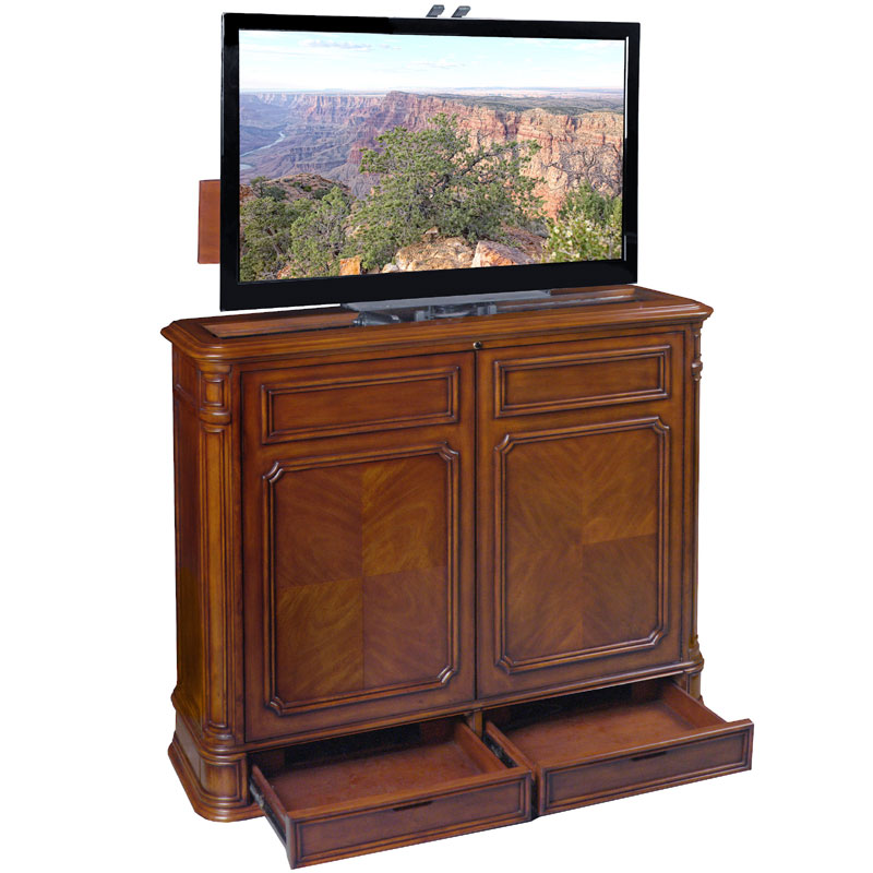 tv lift cabinet crystal pointe 360 swivel lift for 32 46. Black Bedroom Furniture Sets. Home Design Ideas