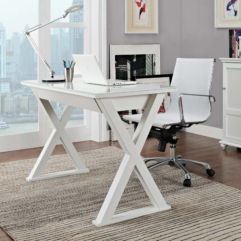 Walker edison steel and glass xtra computer desk white d48x30wh - Metal and glass desks ...