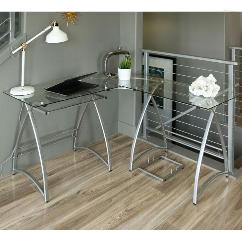 walker edison alexa l shaped glass computer desk silver with clear glass d51al30. Black Bedroom Furniture Sets. Home Design Ideas