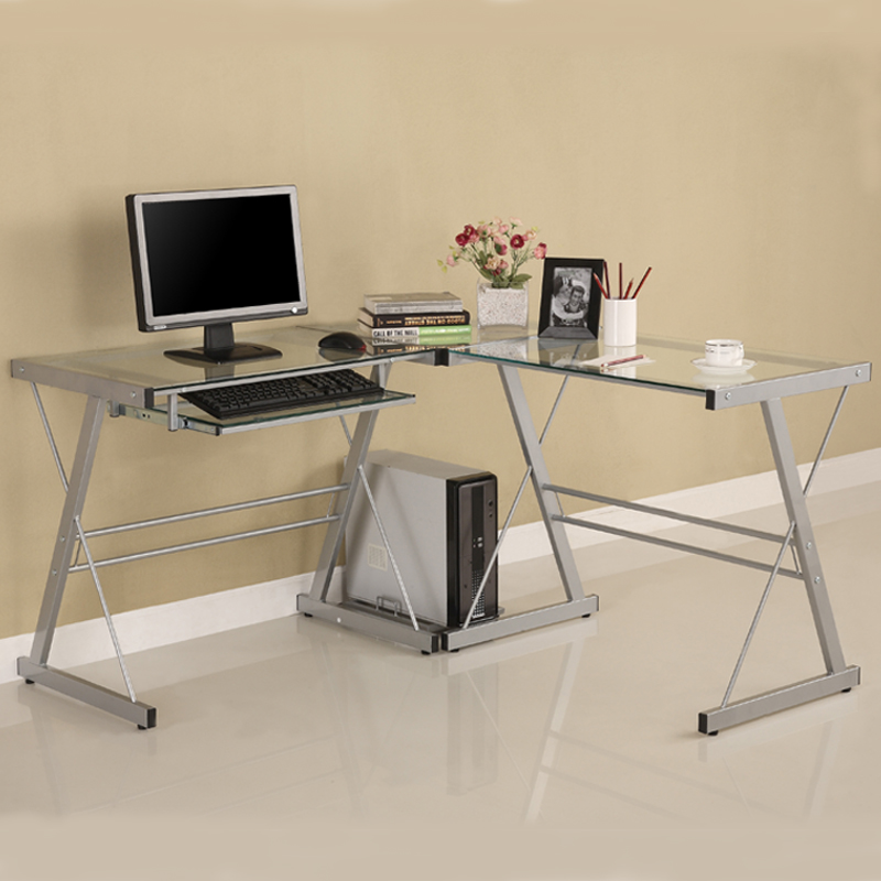 walker edison 3 piece contemporary desk silver with clear