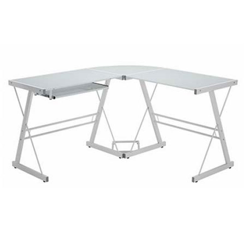 Walker Edison Soreno L Shaped Gl Computer Desk White With Frosted D51w29