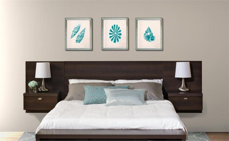 Series 9 designer floating wall mounted queen headboard for Modern headboard diy
