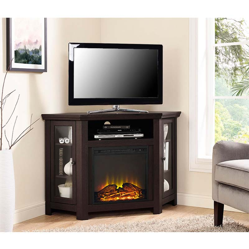 walker edison corner fireplace tv stand for 50 inch