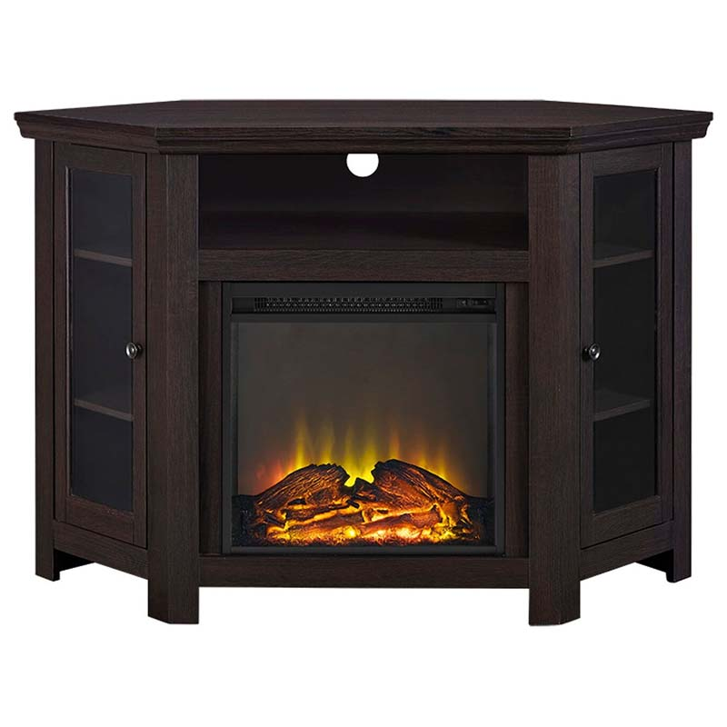 walker edison corner fireplace tv stand for 50 inch screens espresso w48fpcres. Black Bedroom Furniture Sets. Home Design Ideas