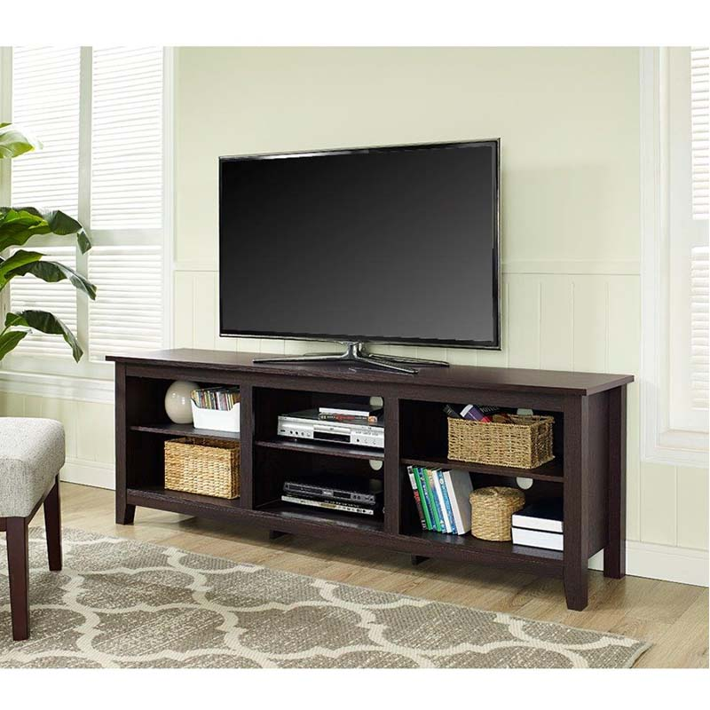 walker edison essentials 70 inch tv stand espresso w70cspes. Black Bedroom Furniture Sets. Home Design Ideas