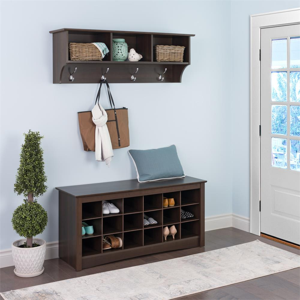 Foyer Bench Shoe Storage : Prepac entryway shoe storage cubbie bench espresso ess