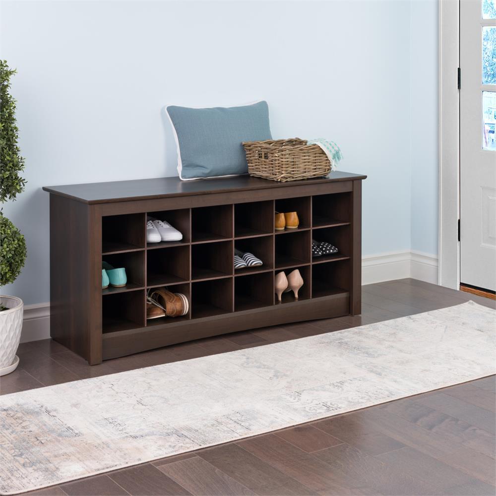 Foyer Cubby Storage : Prepac entryway shoe storage cubbie bench espresso ess