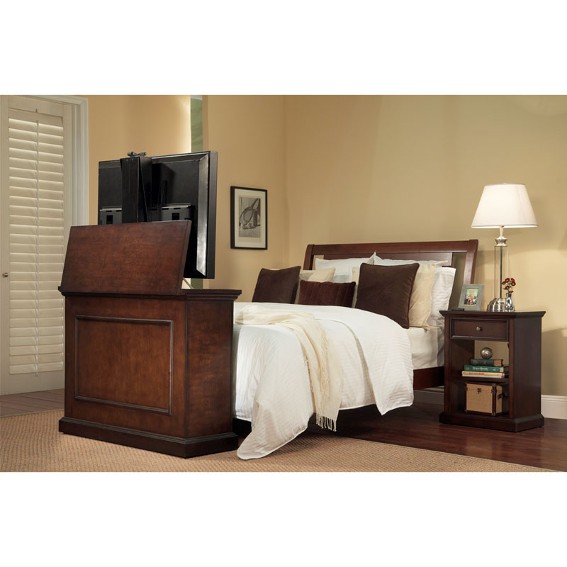 touchstone elevate end of bed or anyroom theater lift cabinet for 24 46 inch screens espresso 72008. Black Bedroom Furniture Sets. Home Design Ideas