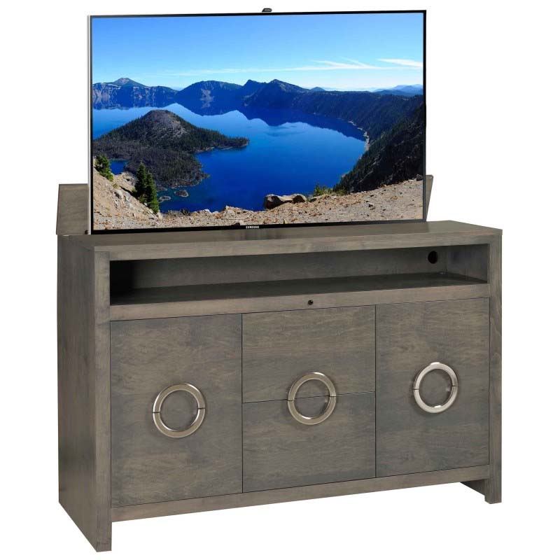 tv lift cabinet enclave solid wood tv lift with storage grey at006752. Black Bedroom Furniture Sets. Home Design Ideas
