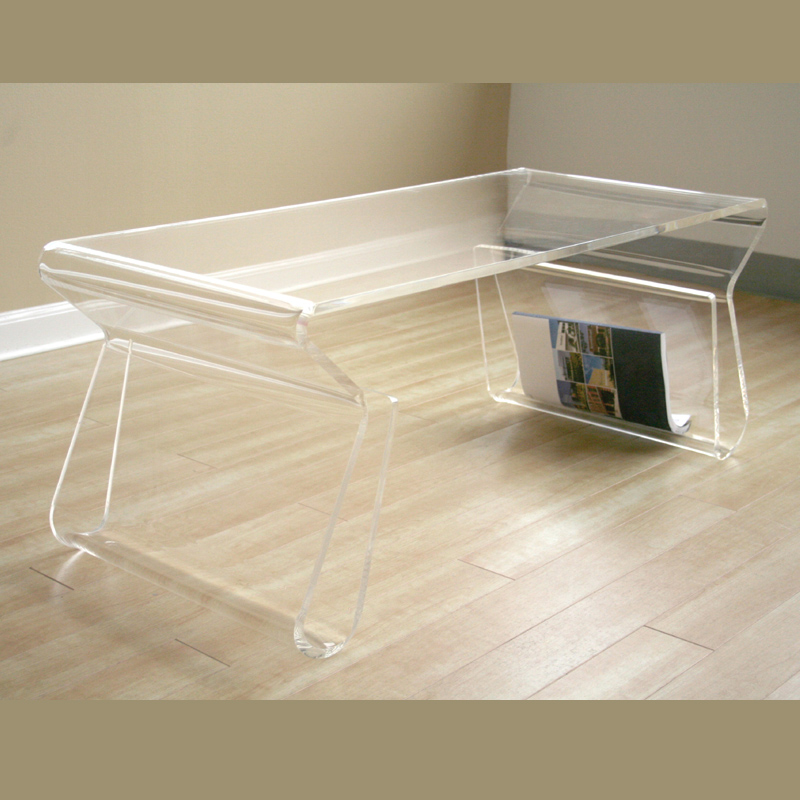 Wholesale interiors acrylic clear coffee table with magazine rack clear fay 9948 clear Acrylic clear coffee table