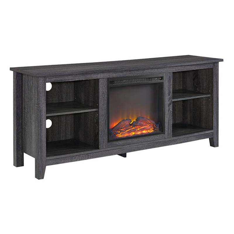 Walker Edison 60 Inch Tv Stand With Fireplace Insert Charcoal W58fp18cl