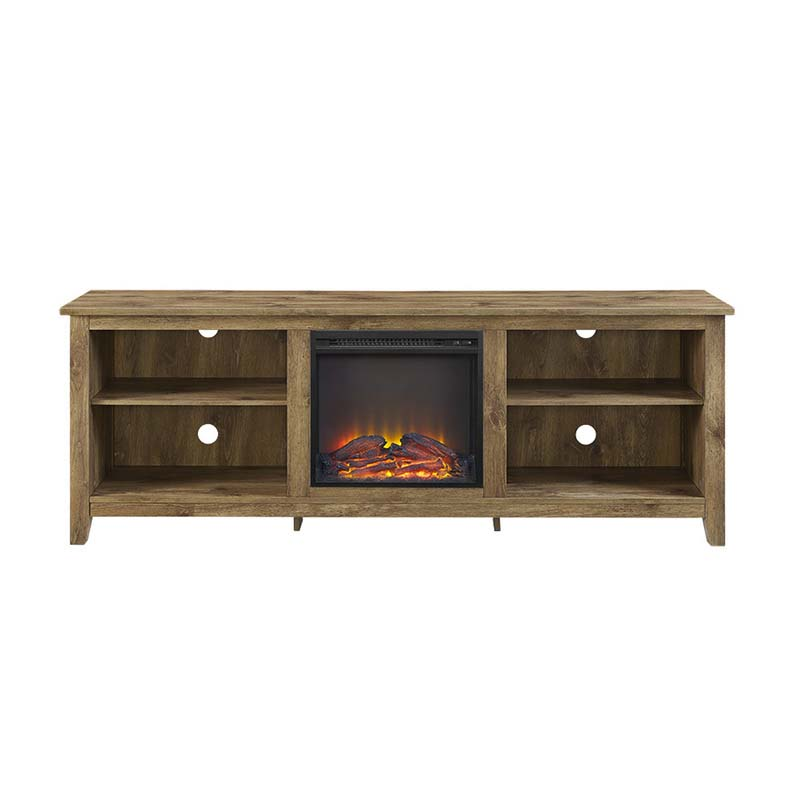 walker edison 70 inch tv stand with electric fireplace barnwood w70fp18bw. Black Bedroom Furniture Sets. Home Design Ideas