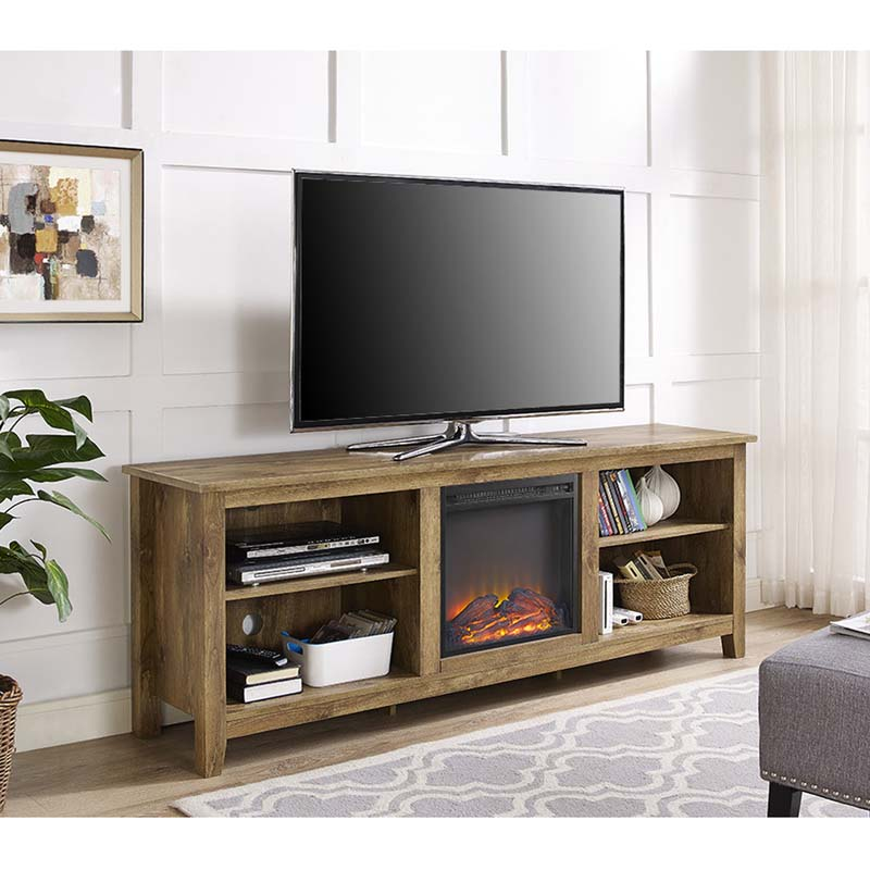 Walker Edison 70 Inch Tv Stand With Electric Fireplace Barnwood W70fp18bw