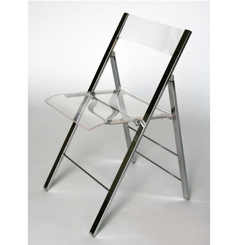 Wholesale Interiors Set of Two Clear Acrylic Folding Side Chairs Clear Fay 50