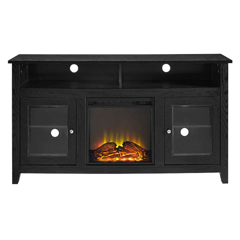 Walker Edison Highboy Fireplace Tv Stand For 60 Inch Screens Black W58fp18hbbl