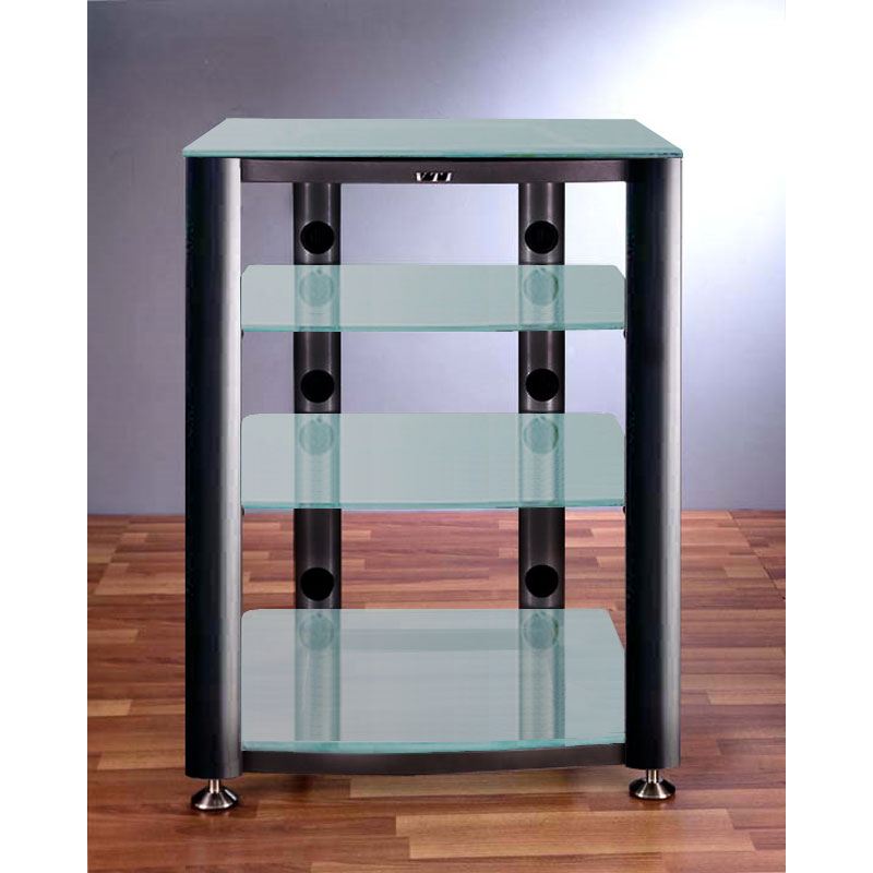 vti 4 shelf audio video rack black with frosted glass hgr404bf. Black Bedroom Furniture Sets. Home Design Ideas