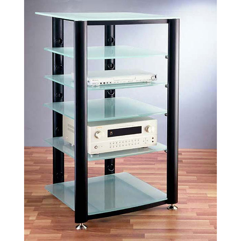 vti 6 shelf audio video rack black with frosted glass hgr406bf. Black Bedroom Furniture Sets. Home Design Ideas