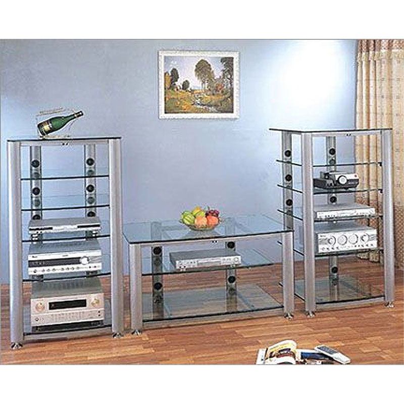 vti hgr series 60 inch wide av tv stand silver with frosted glass hgr60sf. Black Bedroom Furniture Sets. Home Design Ideas