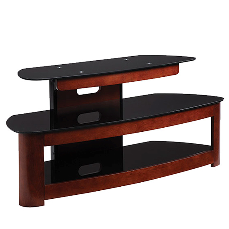 haropa 3 shelf wood and glass 50 in tv stand dark cherry. Black Bedroom Furniture Sets. Home Design Ideas
