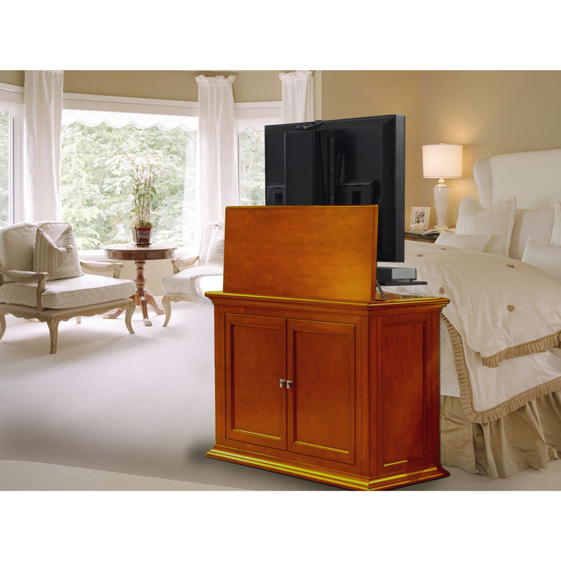 touchstone highland end of bed or anyroom lift cabinet for 24 50 inch screens dark cherry 73009. Black Bedroom Furniture Sets. Home Design Ideas
