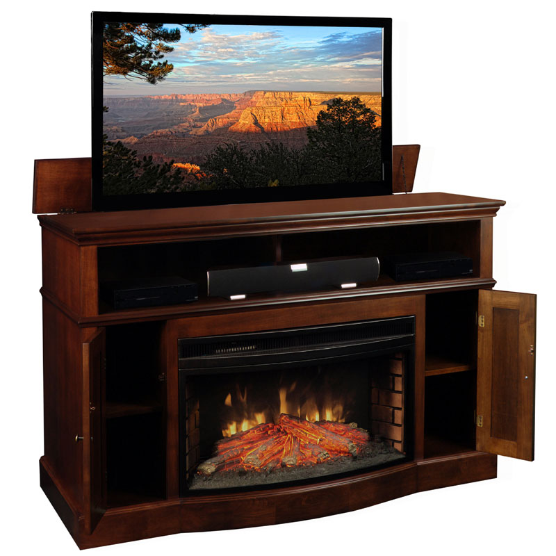 Tv lift cabinet huntington fireplace lift for 40 60 inch for Motorized tv mount over fireplace