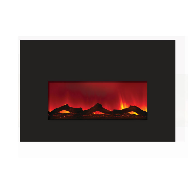 Amantii Large Electric Fireplace Insert w/ 42x30 in. Black Glass Surround  INSERT-33-4230 - Amantii Large Electric Fireplace Insert W 42x30 In. Black Glass