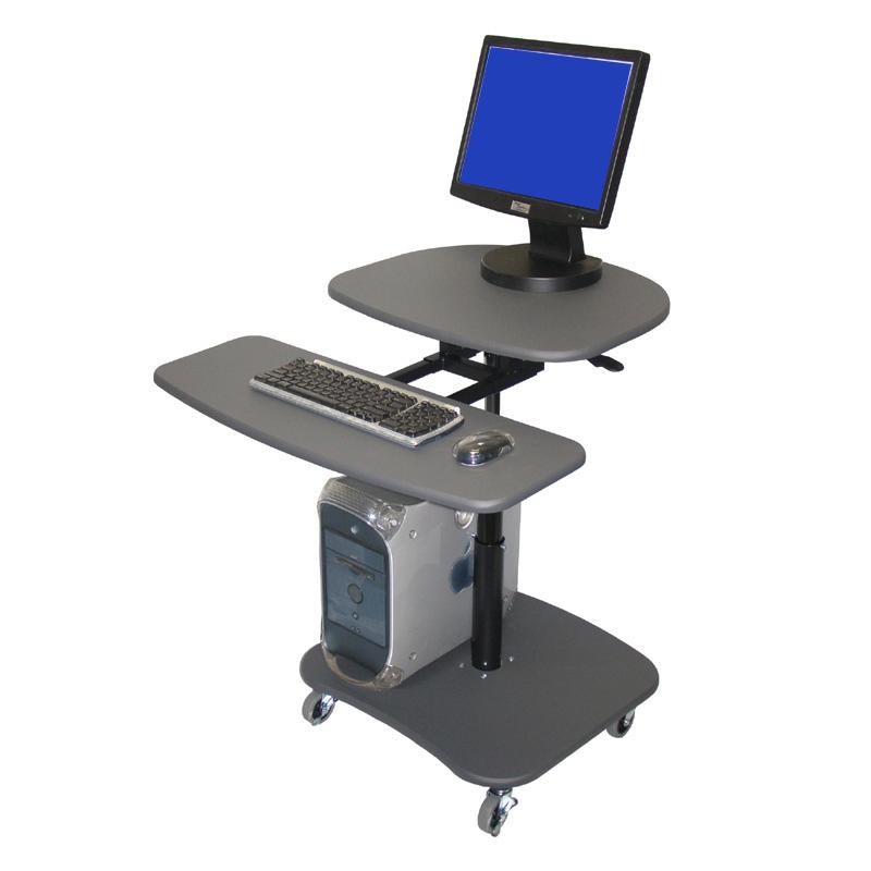 luxor hydraulic adjustable height multimedia cart gray lamc3037. Black Bedroom Furniture Sets. Home Design Ideas