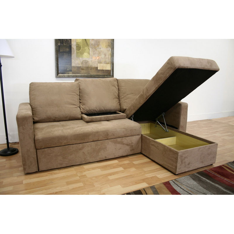 Wholesale interiors baxton microfiber convertible sofa bed for Chaise lounge convertible bed