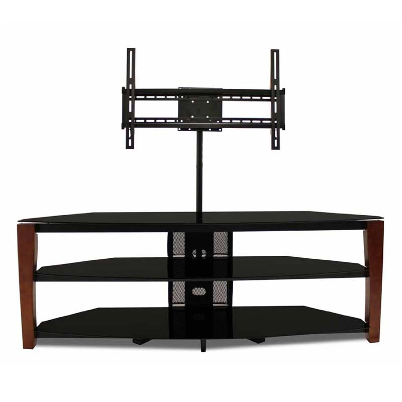 Tech Craft Solid Wood And Black Glass Tv Stand With 60 In
