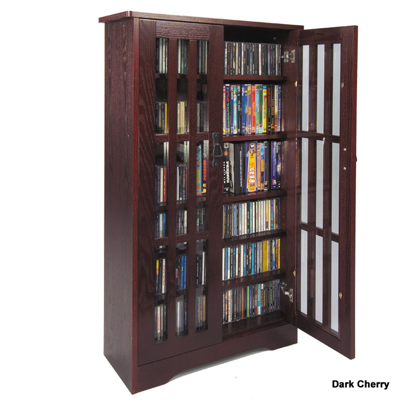 leslie dame cd storage cabinet with glass doors oak walnut or dark cherry m371