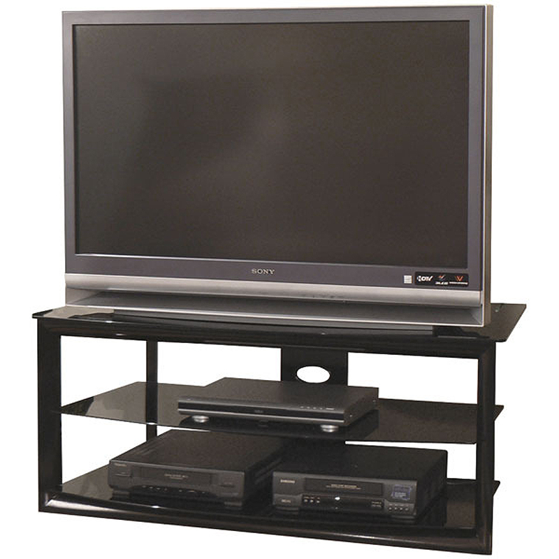Tech craft bernini black glass corner tv stand for 38 48 for Tech craft tv stands