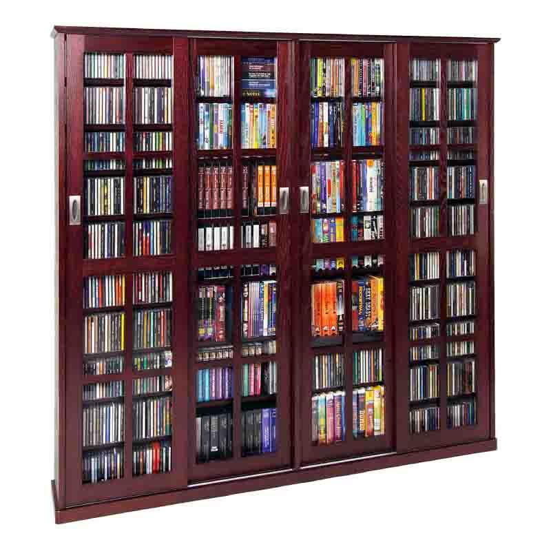 leslie dame glass 4 door multimedia storage cabinet dark. Black Bedroom Furniture Sets. Home Design Ideas
