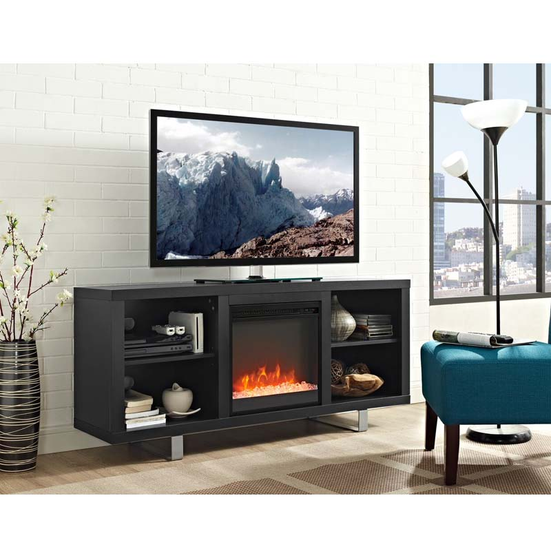 walker edison simple modern fireplace tv stand black w58fp18smsb. Black Bedroom Furniture Sets. Home Design Ideas
