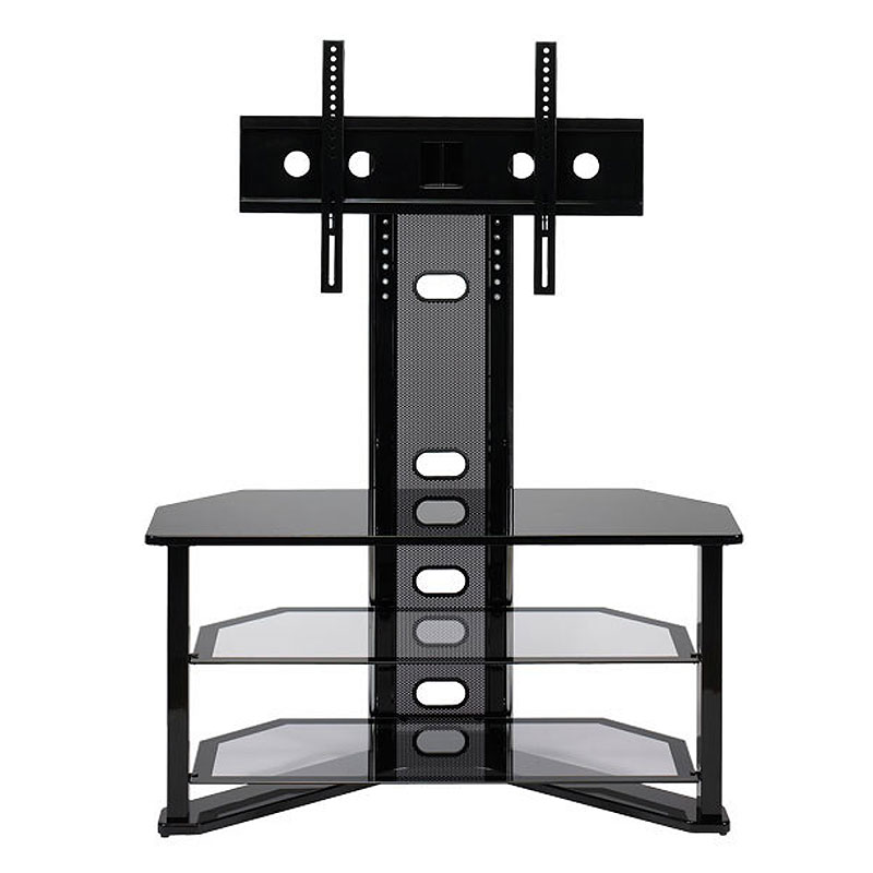 z line designs madrid corner gl tv stand with integrated mount for 32 50 inch screens