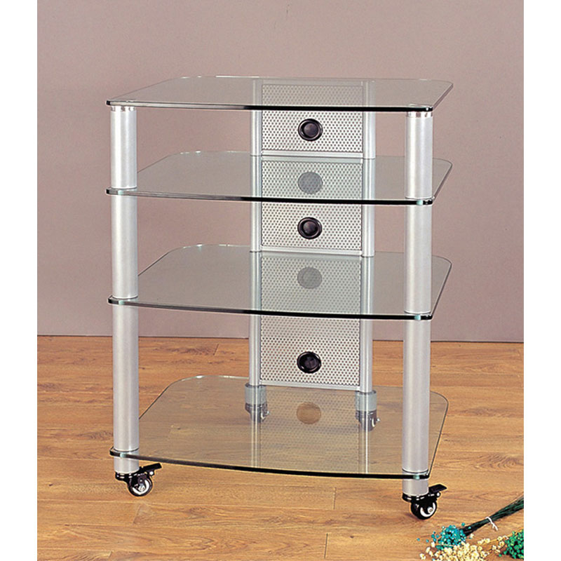 vti 4 shelf mobile audio rack silver with clear glass ngr404sw. Black Bedroom Furniture Sets. Home Design Ideas