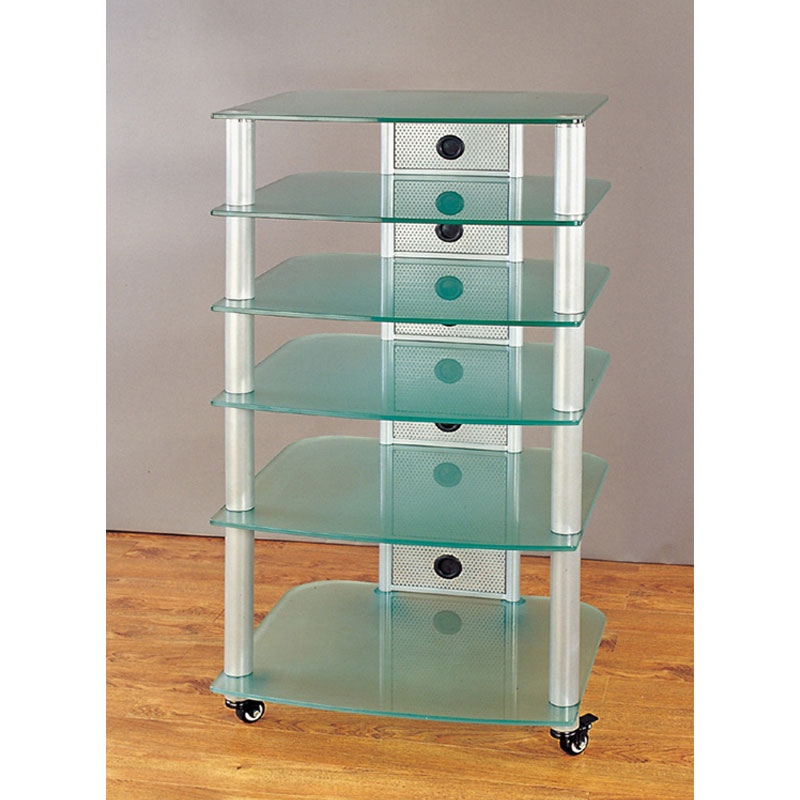 vti 6 shelf mobile audio rack silver with frosted glass ngr406sf. Black Bedroom Furniture Sets. Home Design Ideas